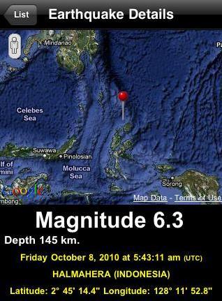 OCT 8, 2010 Magnitude 6.3 Indonesia Earthquake