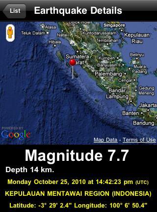 OCT 25, 2010 Magnitude 7.7 Indonesia Earthquake
