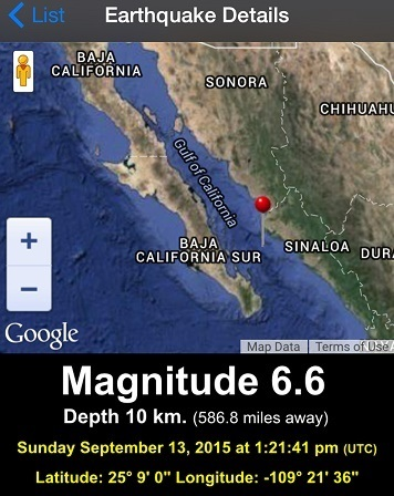 SEP 13, 2015 M 6.6 Quake, Gulf of California