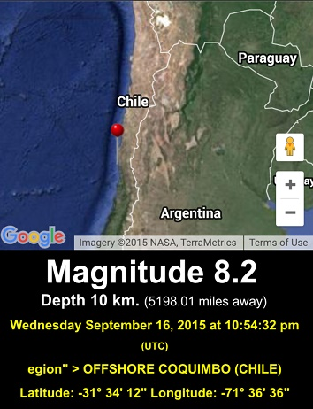 SEP 16, 2015 M 8.2 Quake, Offshore Coquimbo, Chile