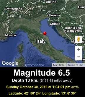 OCT 30, 2016 M6.5 Central Italy Quake