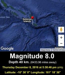DEC 8, 2016 M8.0 Solomons Quake