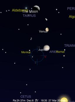 Venus Maximum Eastern Elongation at Sunset, March 27, 2012 - Screen Capture from Pocket Universe app for iPhone