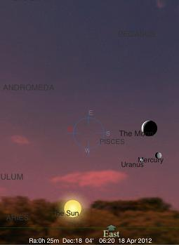 Mercury Max-W Rising at Sunrise, April 18, 2012