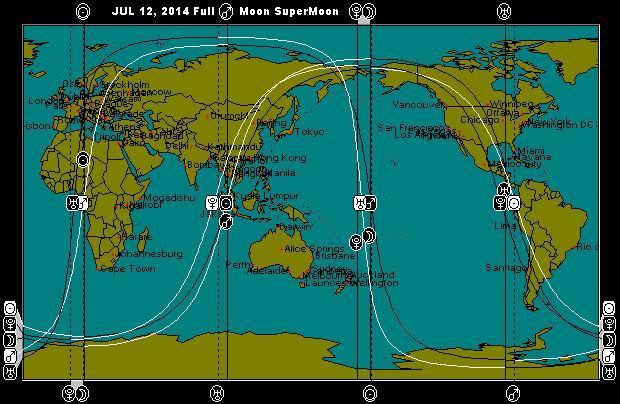 JUL 12, 2014 SuperMoon Full Moon Astro-Locality Map