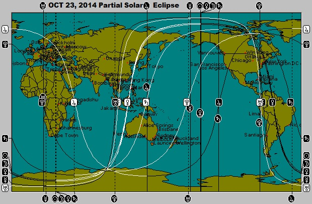 OCT 23, 2014 New Moon (Partial Solar Eclipse) Astro-Locality Map