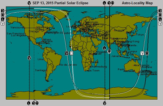 SEP 13, 2015 New Moon Solar Eclipse Astro-Locality Map