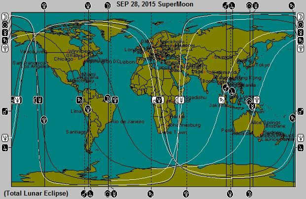 SEP 28, 2015 SuperMoon Full Moon Total Lunar Eclipse Astro-Locality Map